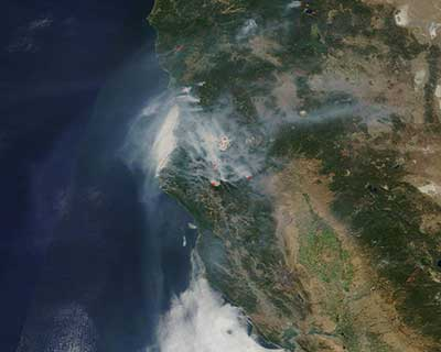 Smoke from the Butte wildfire as seen from space.